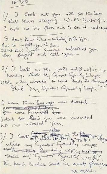 George Harrison's handwritten lyrics to While My Guitar Gently Weeps