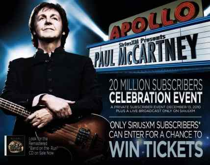 Advertisement for Paul McCartney at the Apollo Theater, New York, 13 December 2010