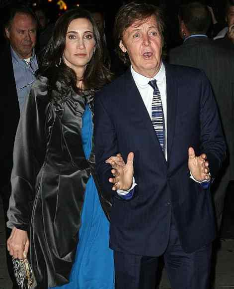 Paul McCartney and Nancy Shevell at their New York wedding party, 21 October 2011