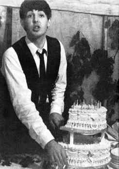 Paul McCartney on his 21st birthday, 28 June 1963