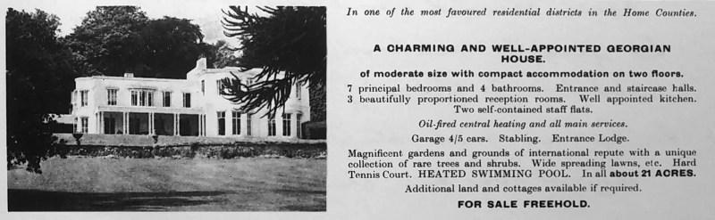 Advertisement for Tittenhurst Park in Ascot, Country Life magazine, 1969