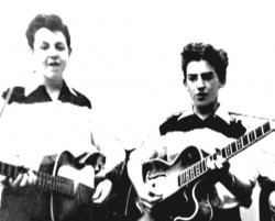 Paul McCartney and George Harrison - teenagers with guitars