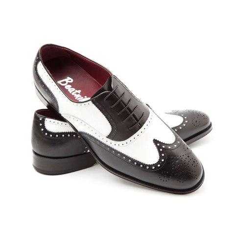 zapato estilo Oxford bicolor de hombre Holmes Black and white