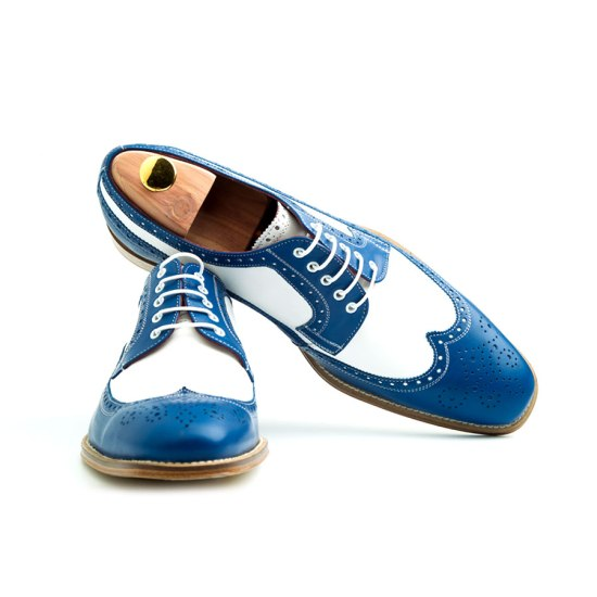 Derby blue & white by Beatnik Shoes