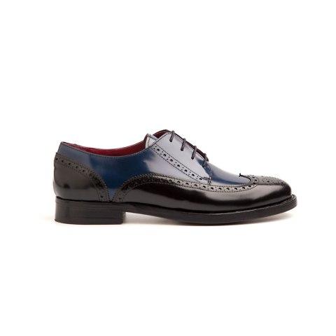 Zapato Derby bicolor de mujer Ethel black & blue por Beatnik Shoes