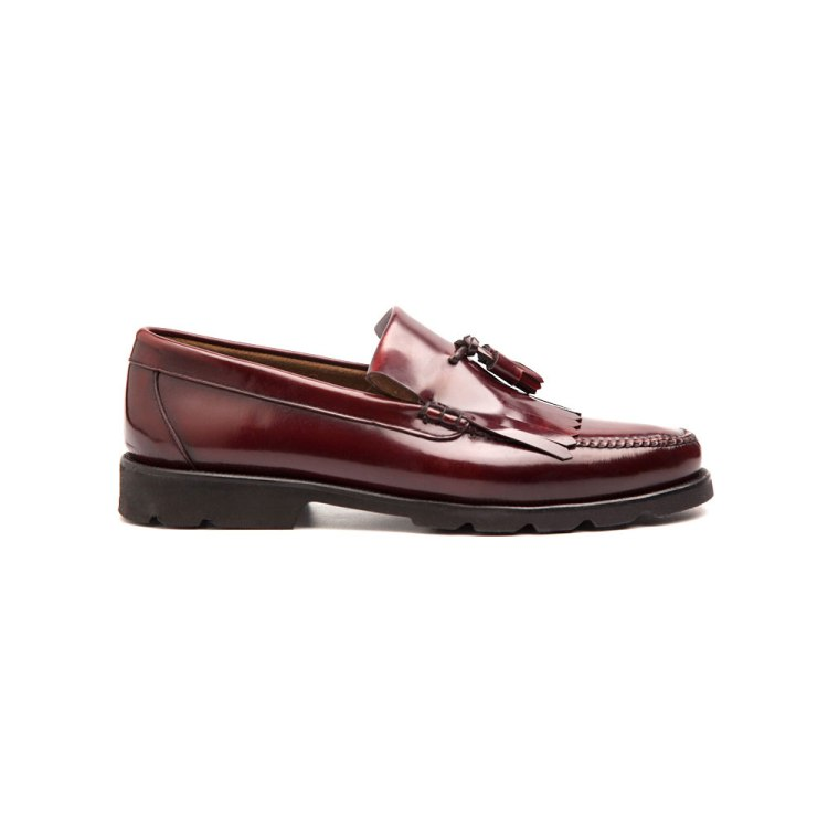 Mocasines flecos y borlas Henry burgundy por Beatnik Shoes