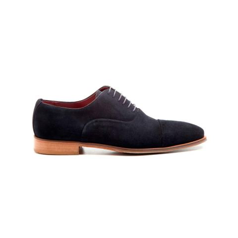 Zapato de ante azul oscuro de cordones para hombre hecho a mano en España por Beatnik