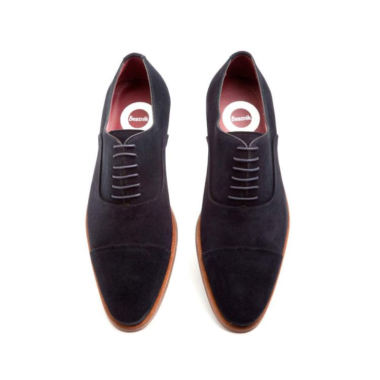 Dark blue suede Oxford style shoes Corso Blue by Beatnik Shoes