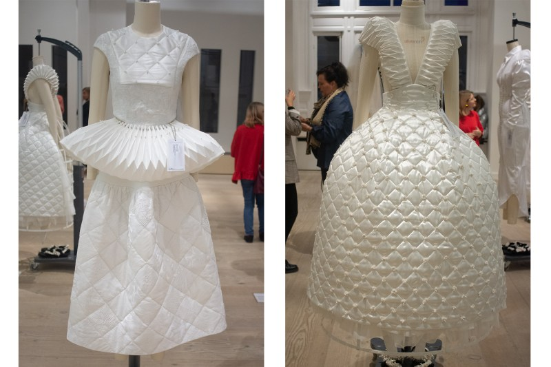 """Tess van Zalinge's collection """"Fifteen"""" showcases wedding dresses made by Upcycling previously used wedding materials meant for only """"one-day-use""""."""