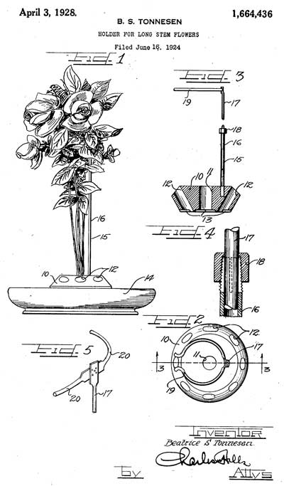 Beatrice S. Tonnesen Patent for Holder for Long Stem Flowers