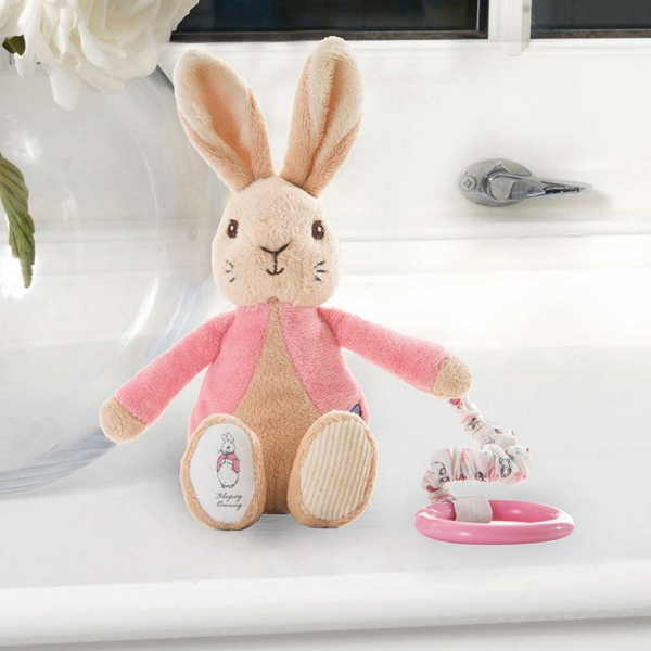 attachable high chair white leather swivel office flopsy bunny jiggle toy - beatrix potter shop