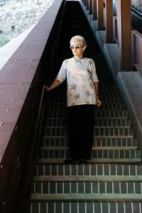 Elegant woman on the stairs