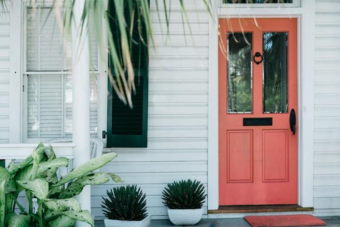 Door painted in orangish pink