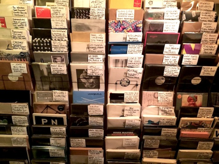 The wall of new releases at Phonica records