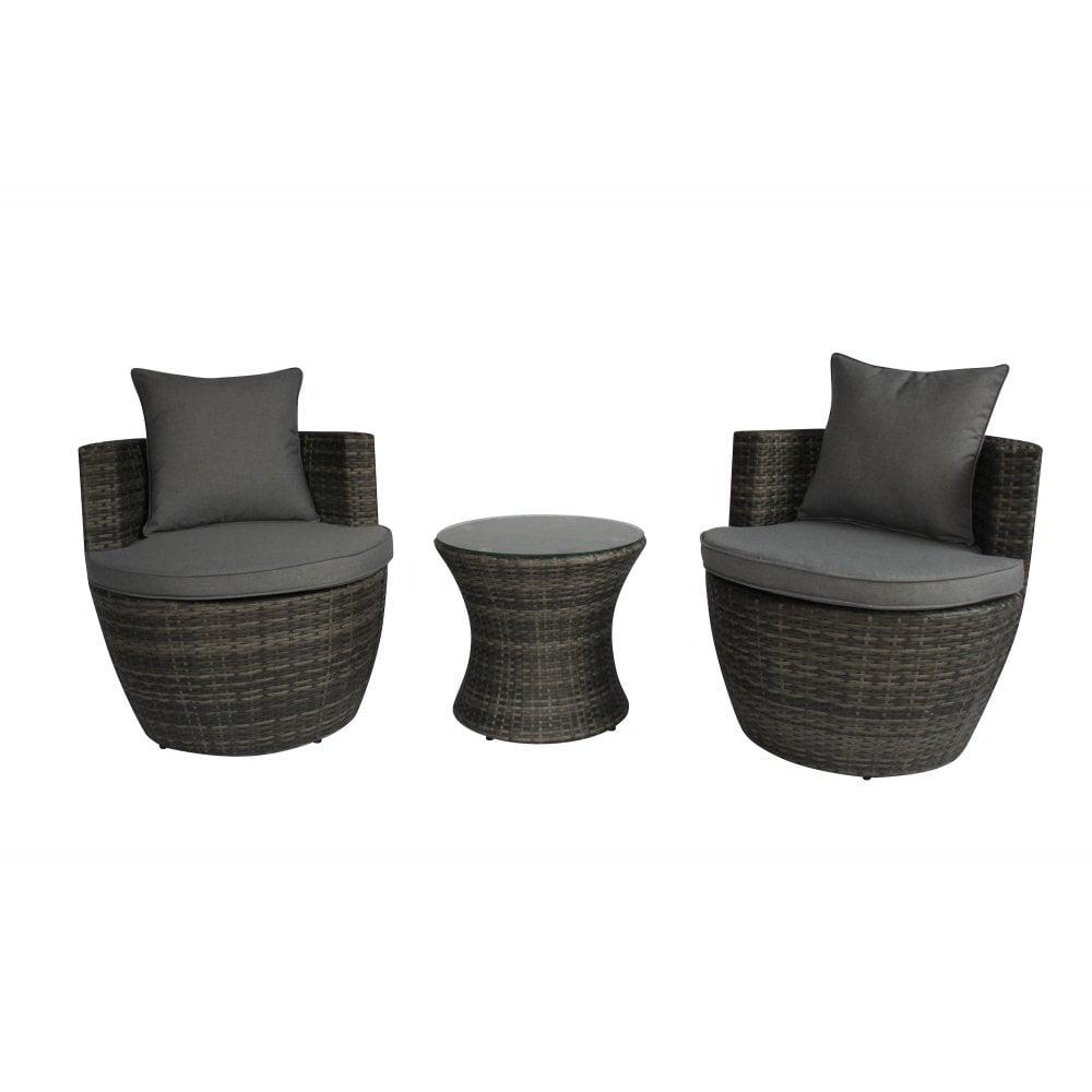 charles bentley charles bentley 3 piece rattan stacking outdoor patio furniture set grey