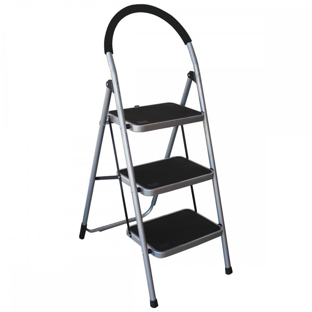 kitchen ladder semi custom cabinets charles bentley 3 step tread folding household lightweight