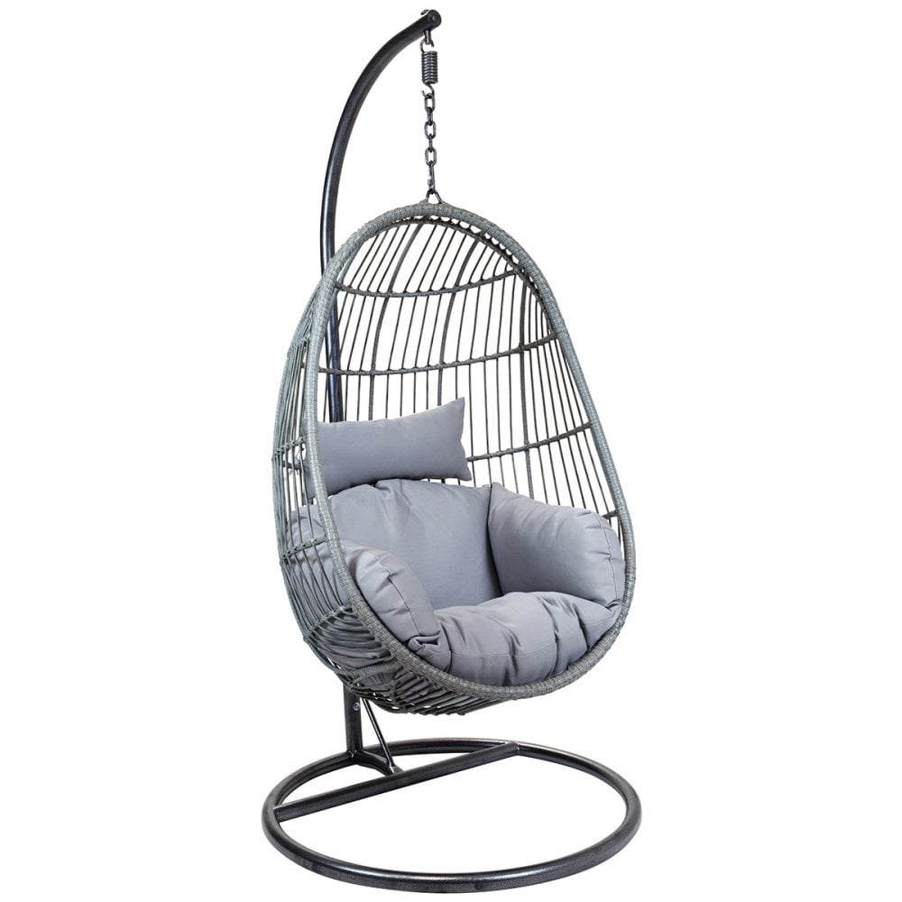 Charles Bentley Hanging Egg Shaped Rattan Swing Chair With