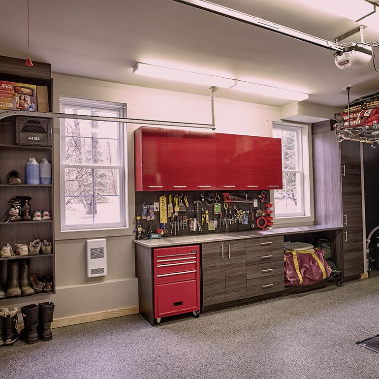 cuisines beauregard rangement de garage sur mesure en melamine