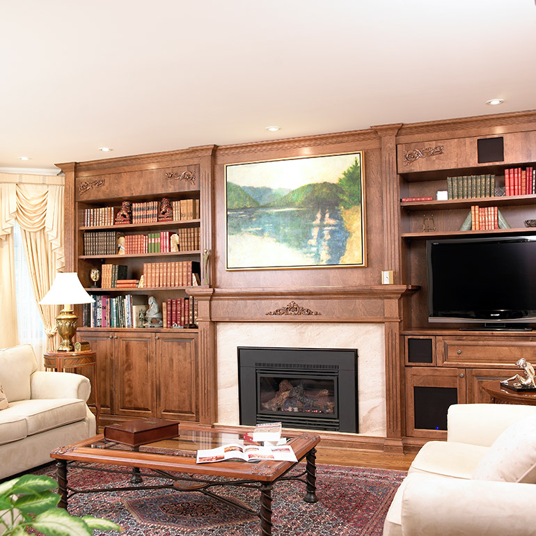 custom made living room furniture images of white curtains in cuisines beauregard project 169 victorian style bookcase wood