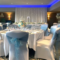 Wedding Chair Covers Eastbourne Queen Anne Chairs For Sale Cover Hire Beau Blush Events Baby Blue Sash Hilton London