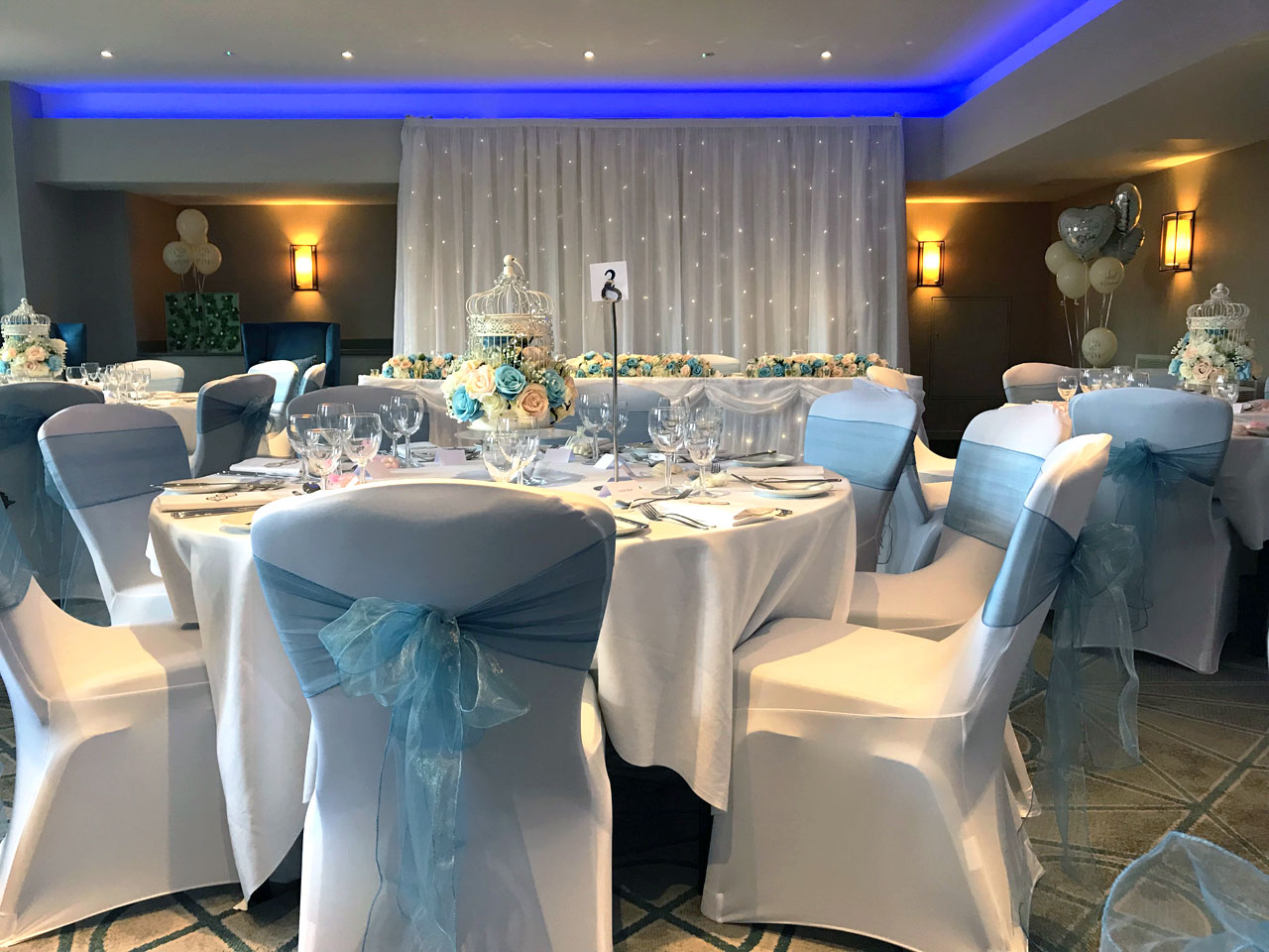 chair covers for weddings basingstoke outdoor swing bunnings cover hire beau blush events baby blue sash hilton london