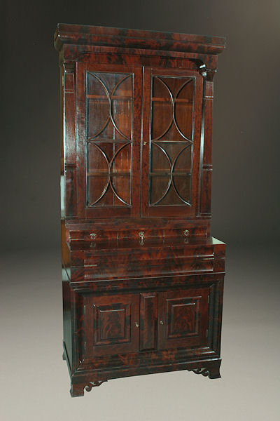 Early 19th Century American Empire Antique Bookcase and