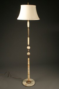 1920s onyx and brass Danish floor lamp.