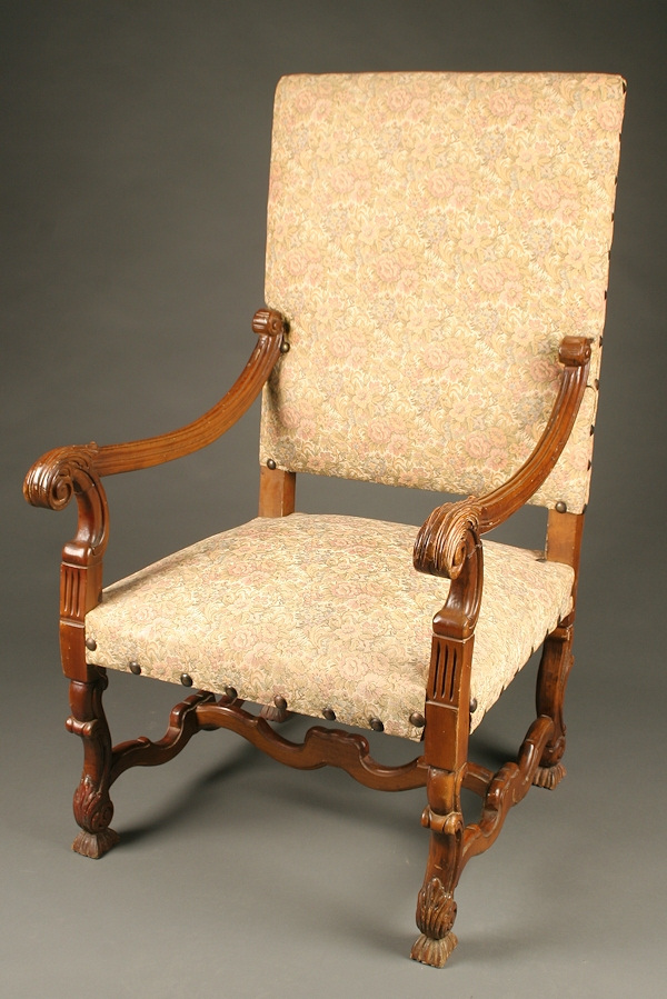 French Louis XIV style arm chair with stretcher base