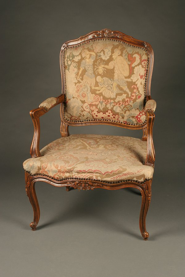antique needlepoint chair chairs sitting area biggest crossword louis xv style arm with upholstery.