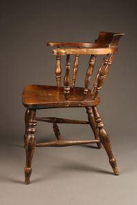 Mid 19th century English plank seat armchair