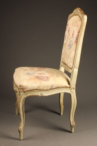 Antique pair of French Louis XV style side chairs.
