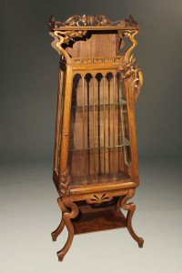 Antique French Art Nouveau cabinet in mahogany with glass ...