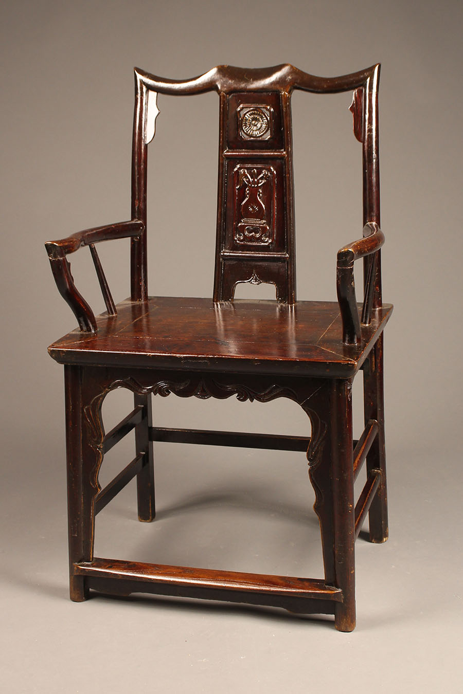 Antique pair of Chinese court chairs made in teak wood