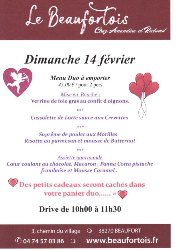 menu du drive de la saint valentin 2021
