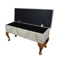 Large Dressing Table Storage Stool in Gold Leaf Fabric | eBay