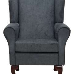 Wingback Chair Uk Slipcovered Parsons Chairs Fireside In A Topaz Charcoal Fabric Ebay