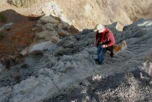 rivulets, erosion, rocks, hillside make for difficult hiking