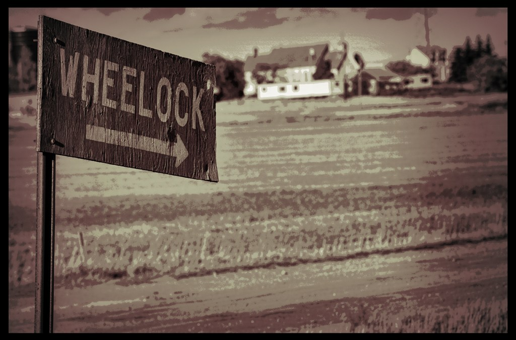 faded photo of Wheelock sign