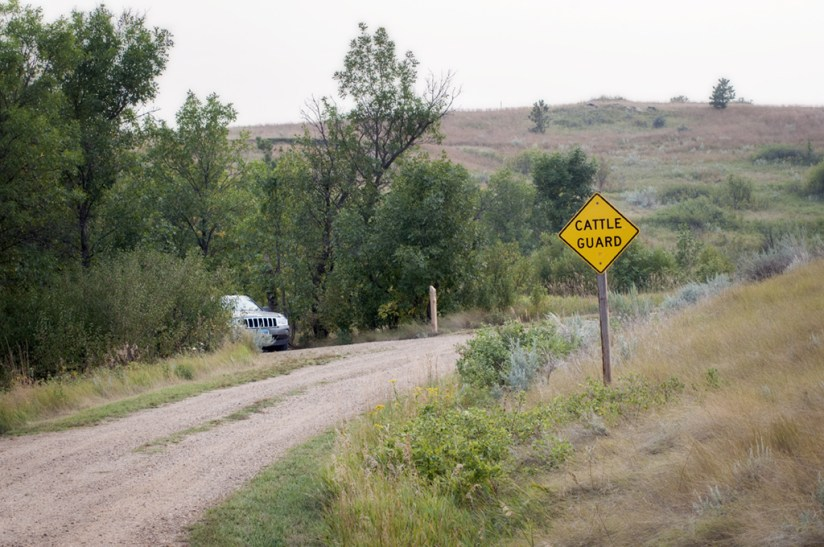 The road to the Burning Coal Vein parking area passes through the campground, across a cattle guard and up the hill.