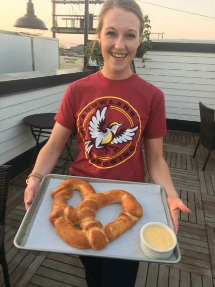 The pretzels are big at the Meadowlark in Sidney, Montana!
