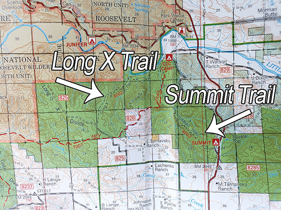 Badlands ridges summit trail and Long X trail