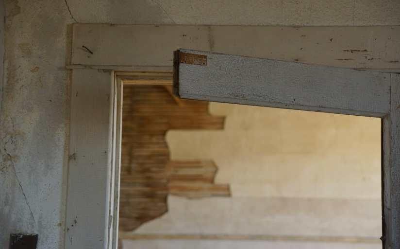 Corner of the swinging door at Charbonneau school