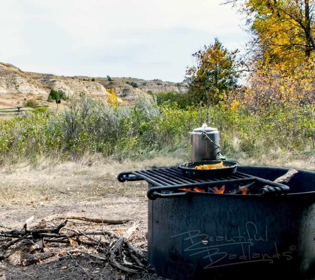 Campfire cooking is a great way to begin a crisp fall morning in the Norht Dakota badlands.