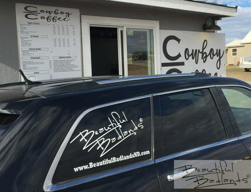 The Cowboy Coffee drive-thru in Killdeer, North Dakota is easy to access. Parking and turnaround areas are large.