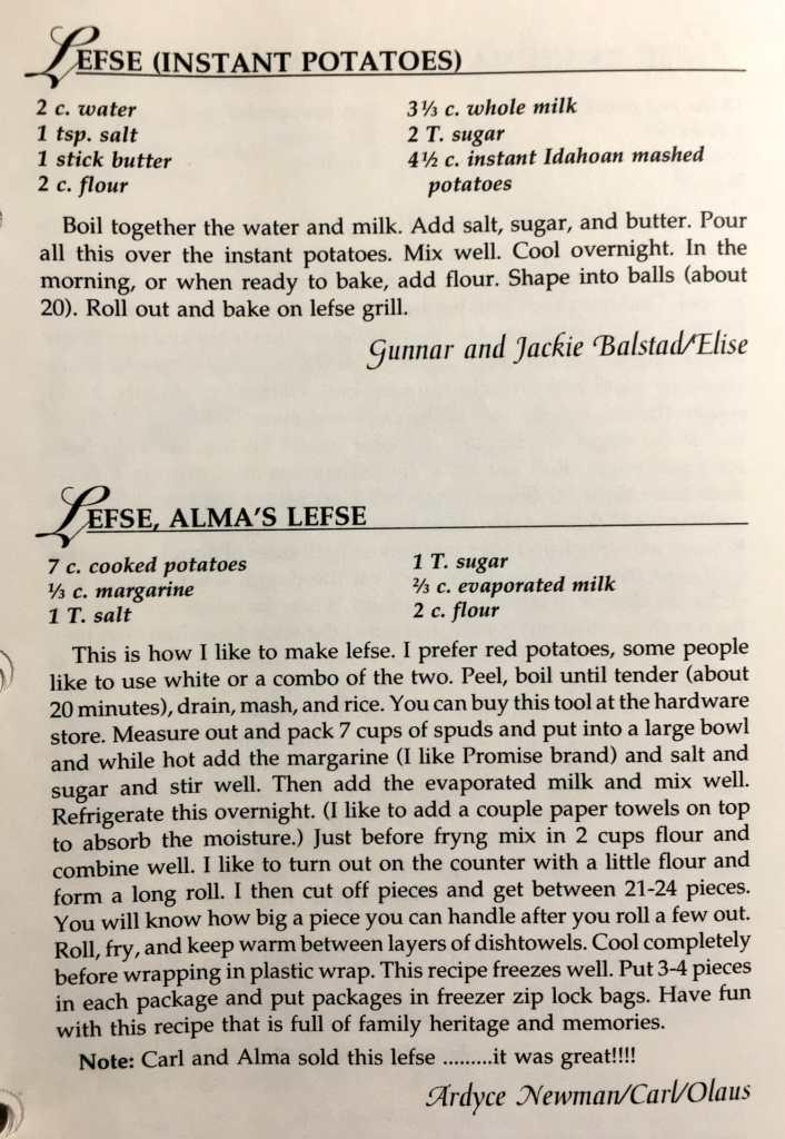 Two Lefse Recipes