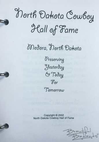 North Dakota Cowboy Hall of Fame Cookbook Title Page 2002