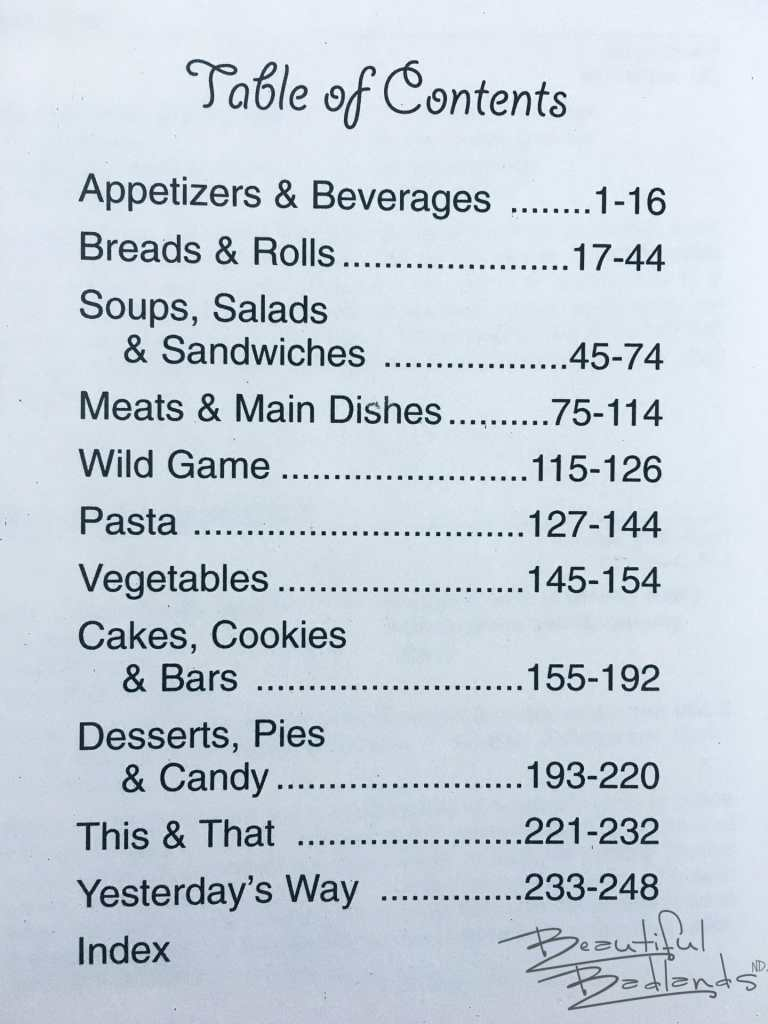 Table of Contents, North Dakota Cowboy Hall of Fame Cookbook