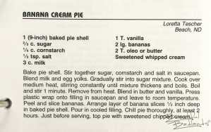 Banana Cream Pie, North Dakota Cowboy Hall of Fame Cookbook