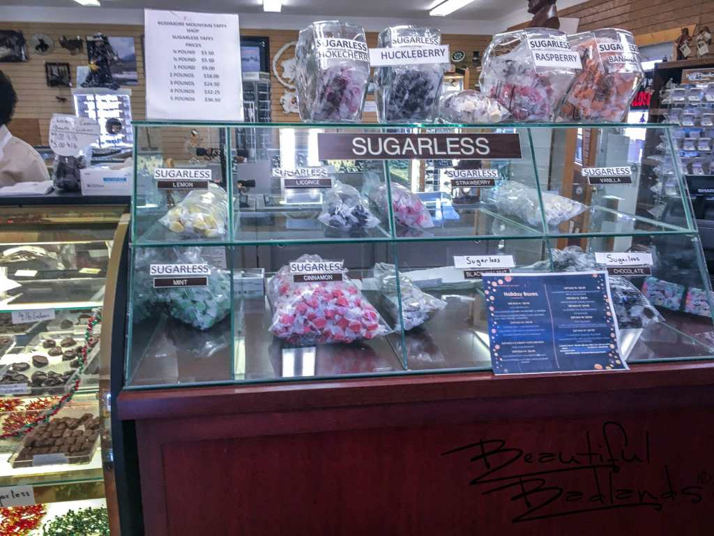 Extensive Sugar Free Taffy Selection, Rushmore Mountain Taffy, Medora, North Dakota
