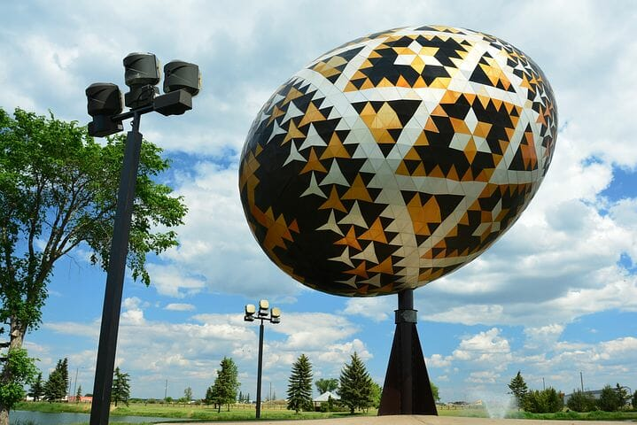 The world's largest Pysanka egg is located in Vegreville, Alberta, Canada.